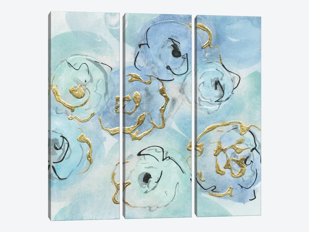 Gold Edged Teal II by Chris Paschke 3-piece Canvas Wall Art