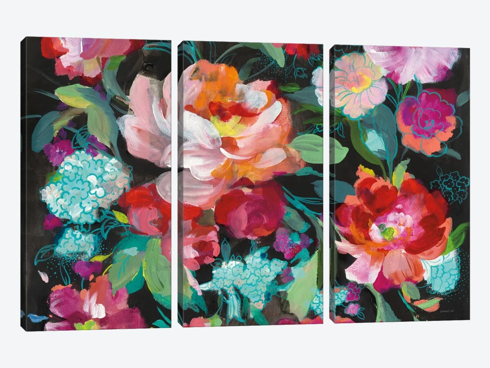 Bright Floral Medley Crop by Danhui Nai 3-piece Canvas Art