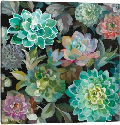 Floral Succulents In Zoom Canvas Art Print