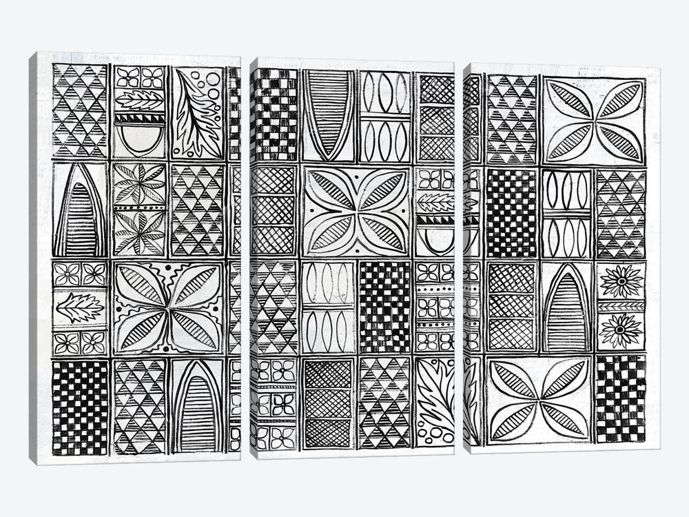 Patterns Of The Amazon B&W I by Kathrine Lovell 3-piece Art Print