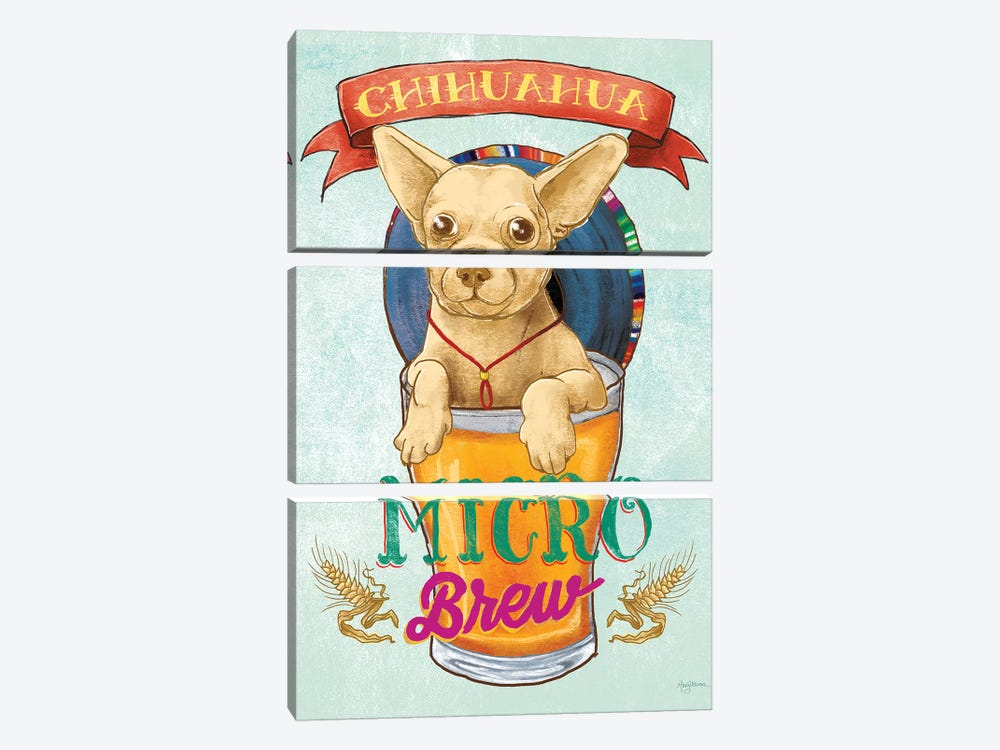 Beer Dogs I by Mary Urban 3-piece Canvas Print