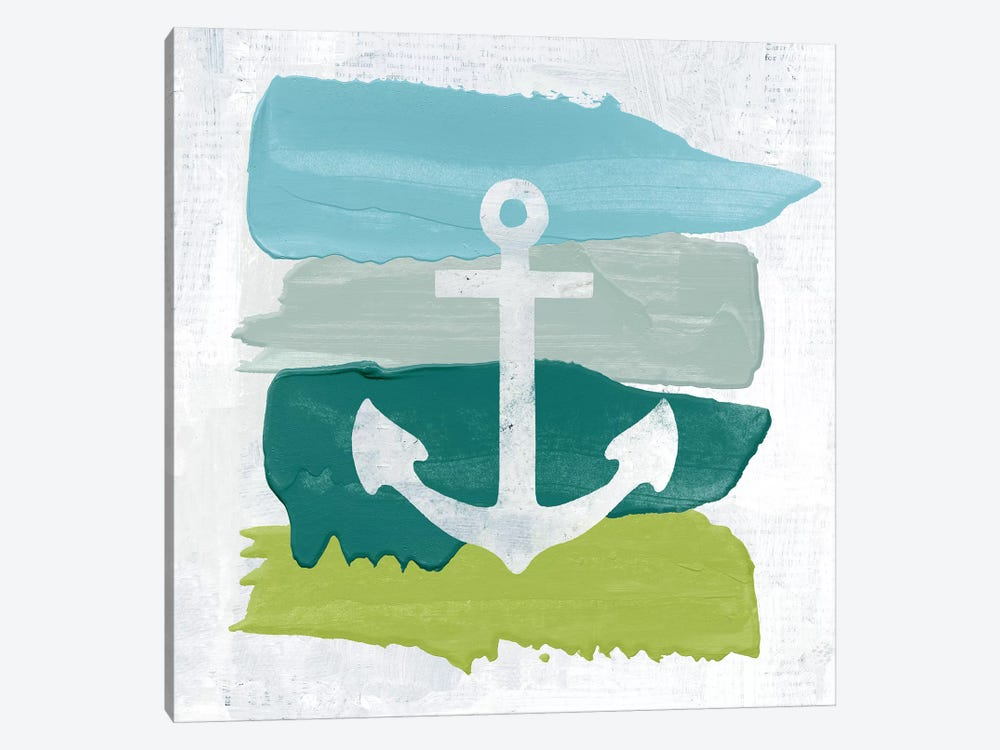 Seaside Swatch Anchor by Moira Hershey 1-piece Canvas Wall Art