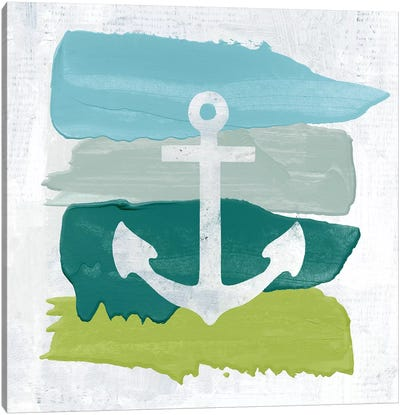 Seaside Swatch Anchor Canvas Art Print