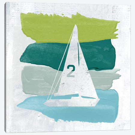Seaside Swatch Sailboat Canvas Print #WAC7322} by Moira Hershey Canvas Artwork