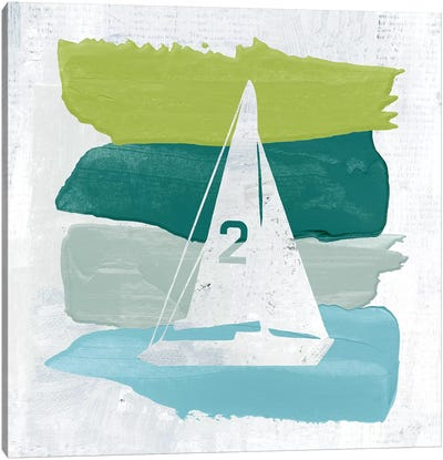 Seaside Swatch Sailboat Canvas Art Print