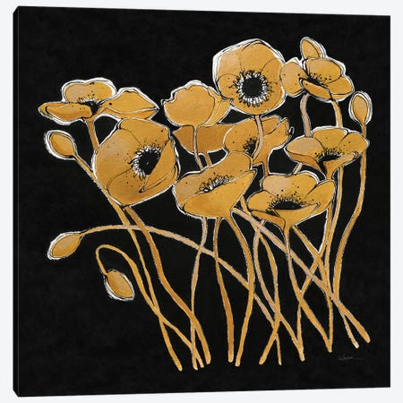 Gold Black Line Poppies I Canvas Print #WAC7327} by Shirley Novak Canvas Print