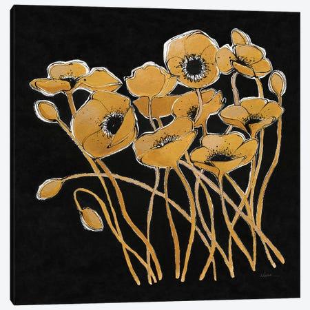Gold Black Line Poppies I Canvas Print #WAC7327} by Shirley Novak Canvas Print
