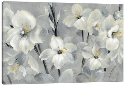 Flowers On Gray Canvas Art Print