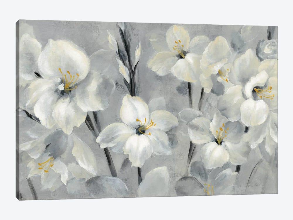 Flowers On Gray by Silvia Vassileva 1-piece Canvas Art