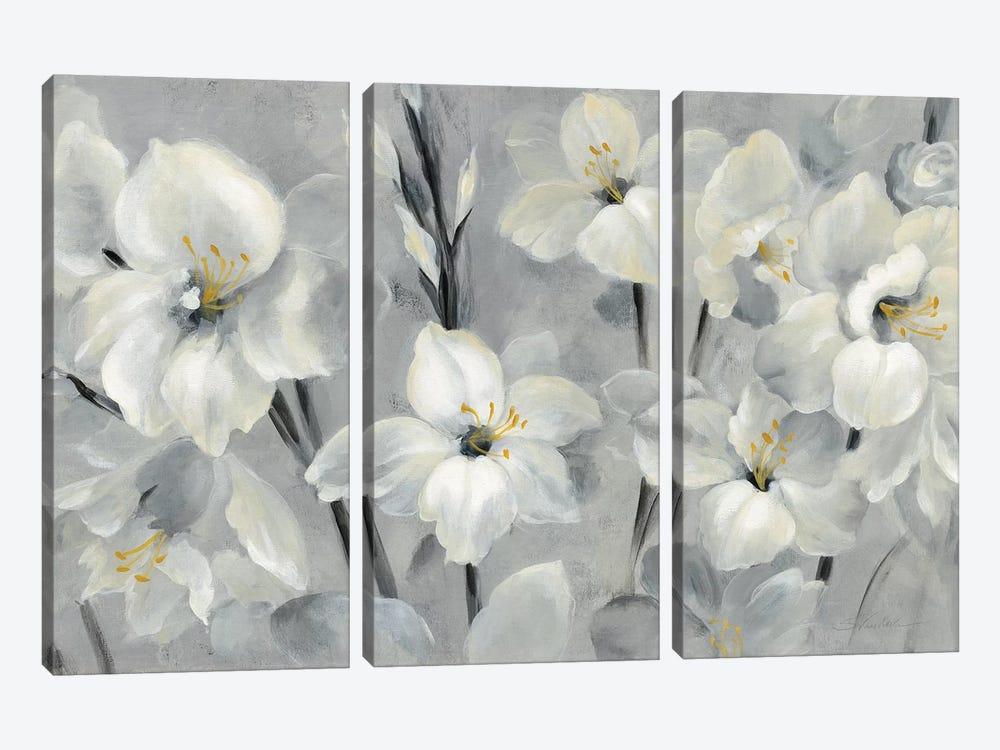 Flowers On Gray by Silvia Vassileva 3-piece Canvas Artwork