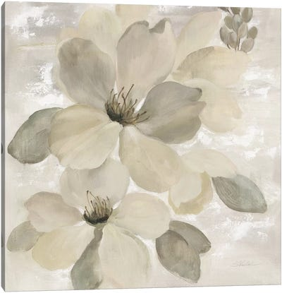 White On White Floral II Canvas Art Print