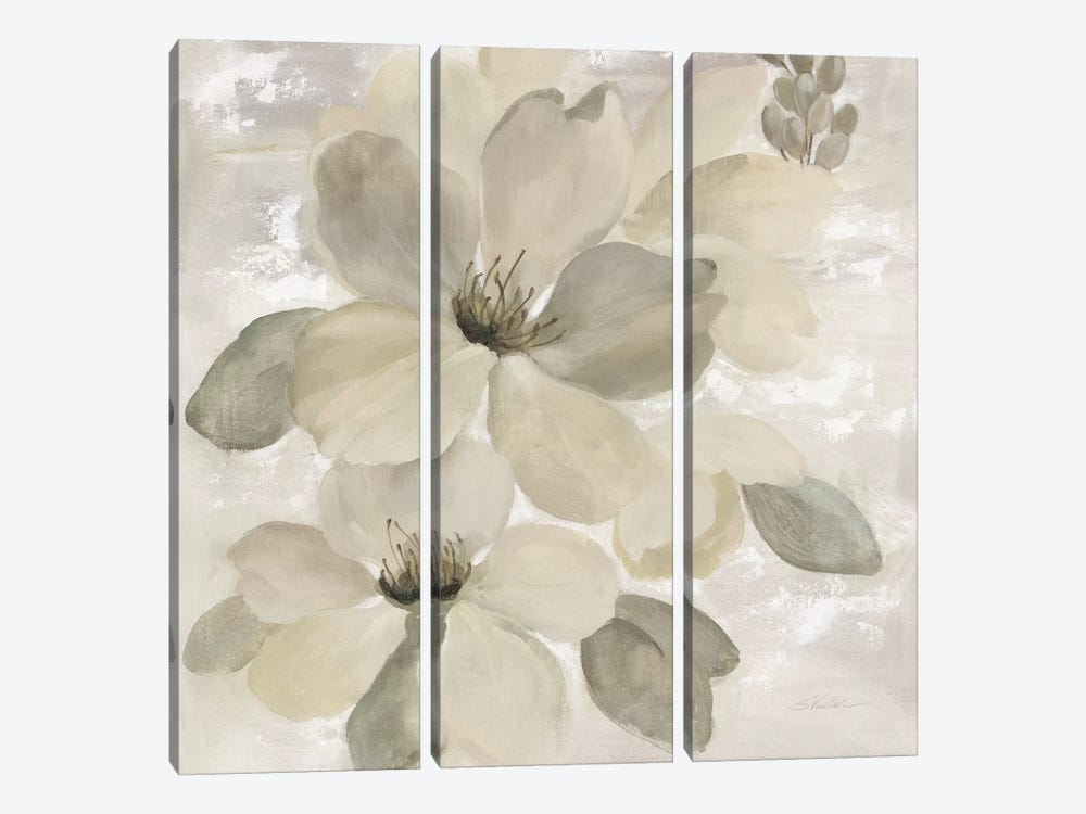 White On White Floral II by Silvia Vassileva 3-piece Canvas Art Print