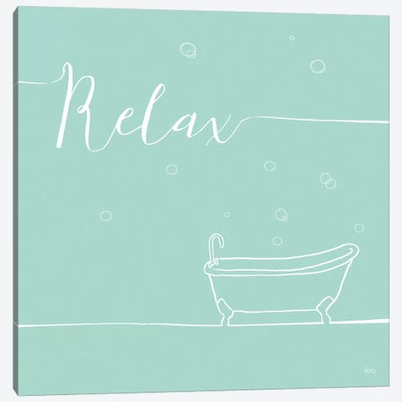 Underlined Bath In Teal I Canvas Print #WAC7349} by Veronique Charron Canvas Artwork