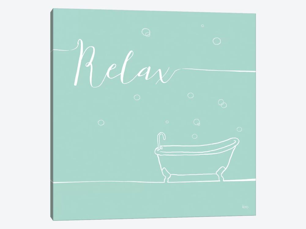 Underlined Bath In Teal I 1-piece Art Print