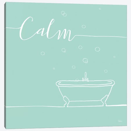 Underlined Bath In Teal II Canvas Print #WAC7350} by Veronique Charron Canvas Print