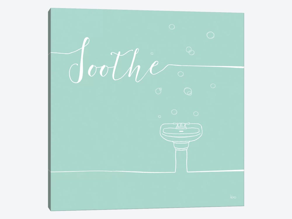 Underlined Bath In Teal IV by Veronique Charron 1-piece Canvas Print