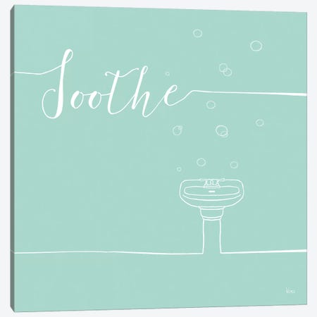 Underlined Bath In Teal IV Canvas Print #WAC7352} by Veronique Charron Canvas Art Print