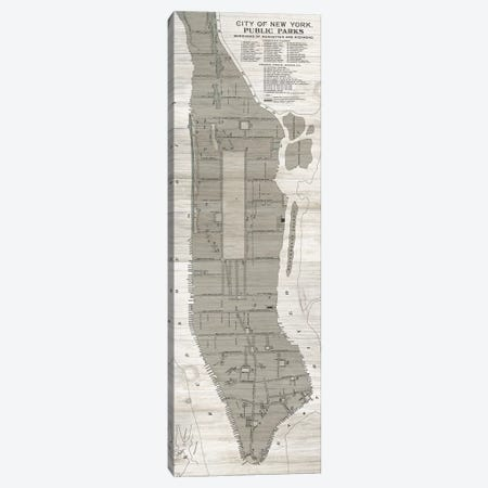 New York Parks Map, Vertical Canvas Print #WAC7353} by Wild Apple Portfolio Canvas Print