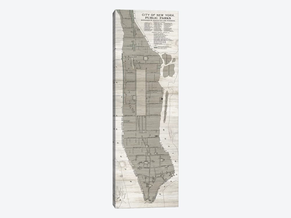 New York Parks Map, Vertical by Wild Apple Portfolio 1-piece Canvas Art