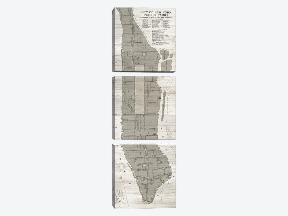 New York Parks Map, Vertical 3-piece Canvas Wall Art