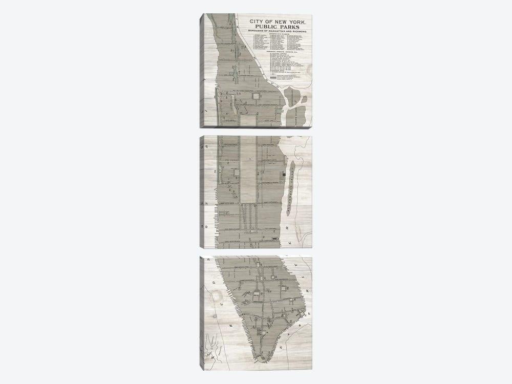 New York Parks Map, Vertical by Wild Apple Portfolio 3-piece Canvas Wall Art