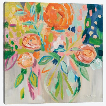 Summer Orange Floral Canvas Print #WAC7390} by Farida Zaman Canvas Print