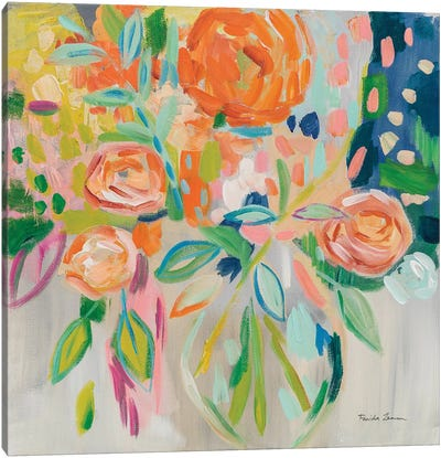 Summer Orange Floral Canvas Art Print