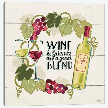 Wine And Friends V Canvas Print #WAC7402} by Janelle Penner Canvas Art Print