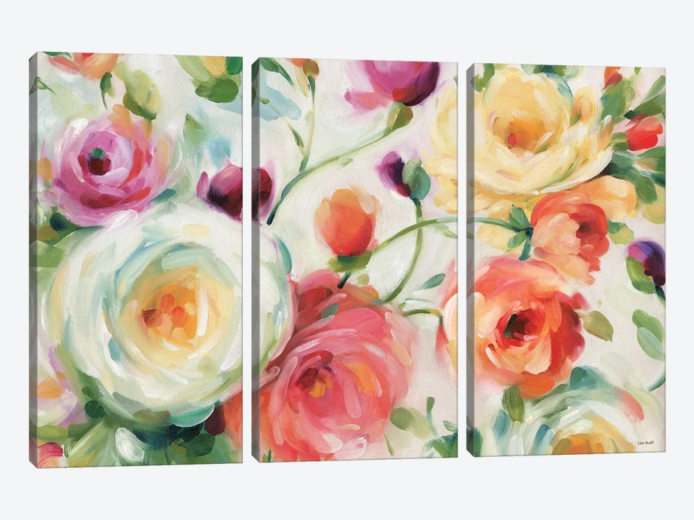 Florabundance I by Lisa Audit 3-piece Canvas Print