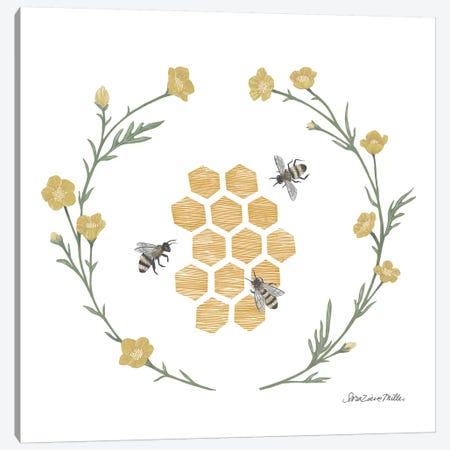 Happy To Bee Home III Canvas Print #WAC7446} by Sara Zieve Miller Canvas Wall Art