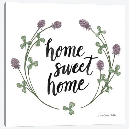 Happy To Bee Home Words I Canvas Print #WAC7448} by Sara Zieve Miller Art Print