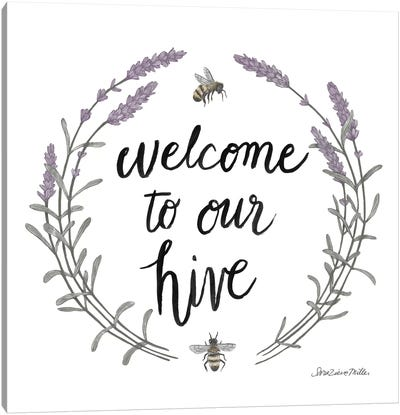 Happy To Bee Home Words II Canvas Art Print