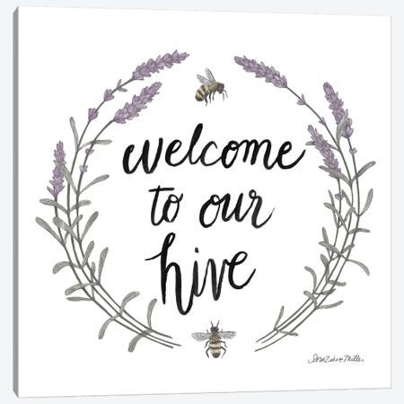 Happy To Bee Home Words II Canvas Print #WAC7449} by Sara Zieve Miller Art Print