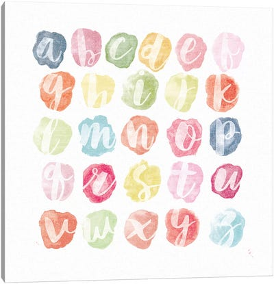 Watercolor Alphabet Canvas Art Print
