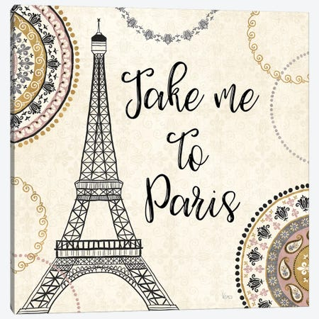 Romance In Paris I Canvas Print #WAC7469} by Veronique Charron Art Print