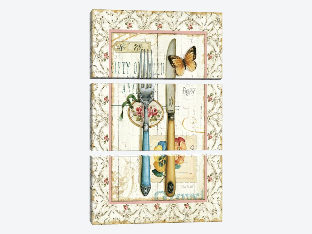 Rose Garden Utensils I by Lisa Audit 3-piece Canvas Wall Art