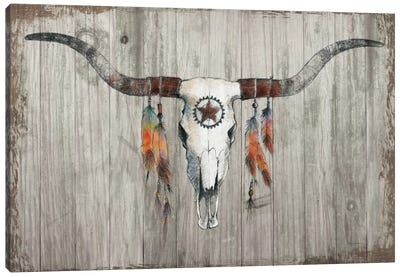 Longhorn On Dark Gray Wood Canvas Art Print