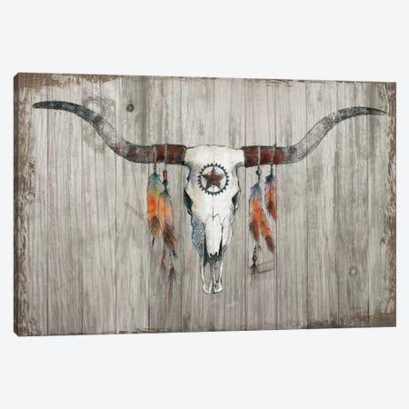 Longhorn On Dark Gray Wood Canvas Print #WAC7536} by Avery Tillmon Canvas Art