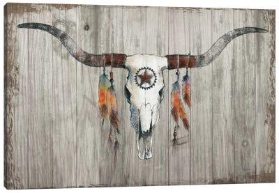 Longhorn On Dark Gray Wood Canvas Art Print