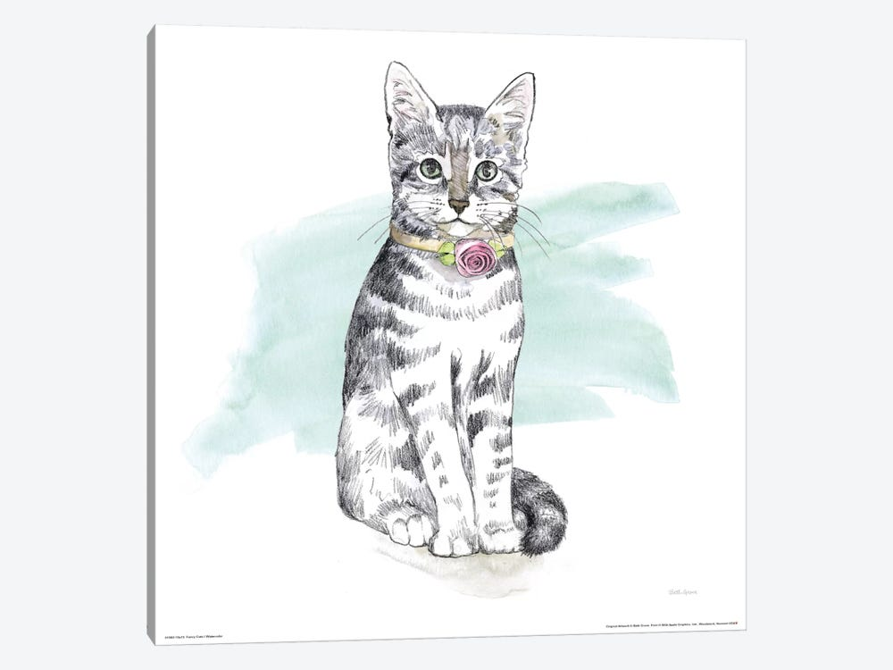 Fancy Cats Watercolor I by Beth Grove 1-piece Canvas Artwork