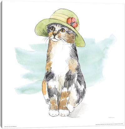 Fancy Cats Watercolor III Canvas Art Print