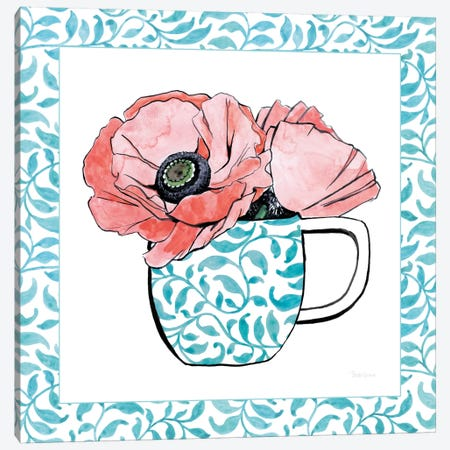 Floral Teacup Vine Border II Canvas Print #WAC7541} by Beth Grove Canvas Artwork