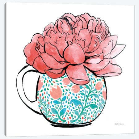 Floral Teacups I Canvas Print #WAC7544} by Beth Grove Canvas Art Print