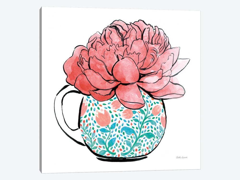 Floral Teacups I by Beth Grove 1-piece Canvas Artwork
