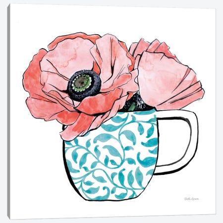 Floral Teacups II Canvas Print #WAC7545} by Beth Grove Art Print