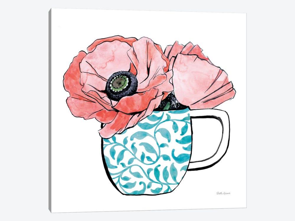 Floral Teacups II by Beth Grove 1-piece Art Print