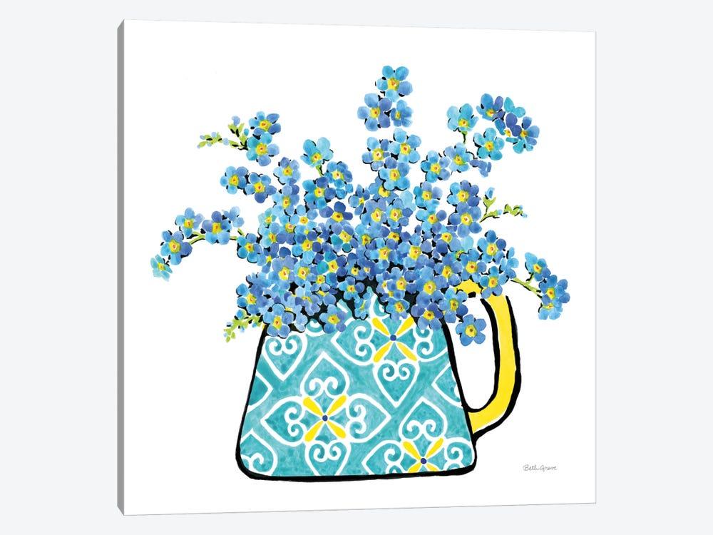 Floral Teacups IV by Beth Grove 1-piece Canvas Art Print