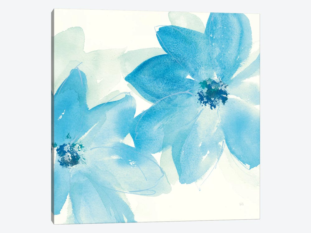 Aqua Mint Clematis II 1-piece Canvas Art Print