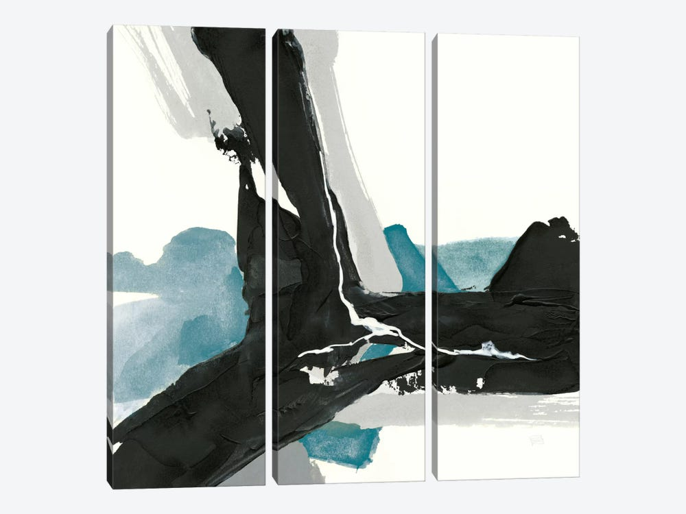 Black And Teal III 3-piece Canvas Art