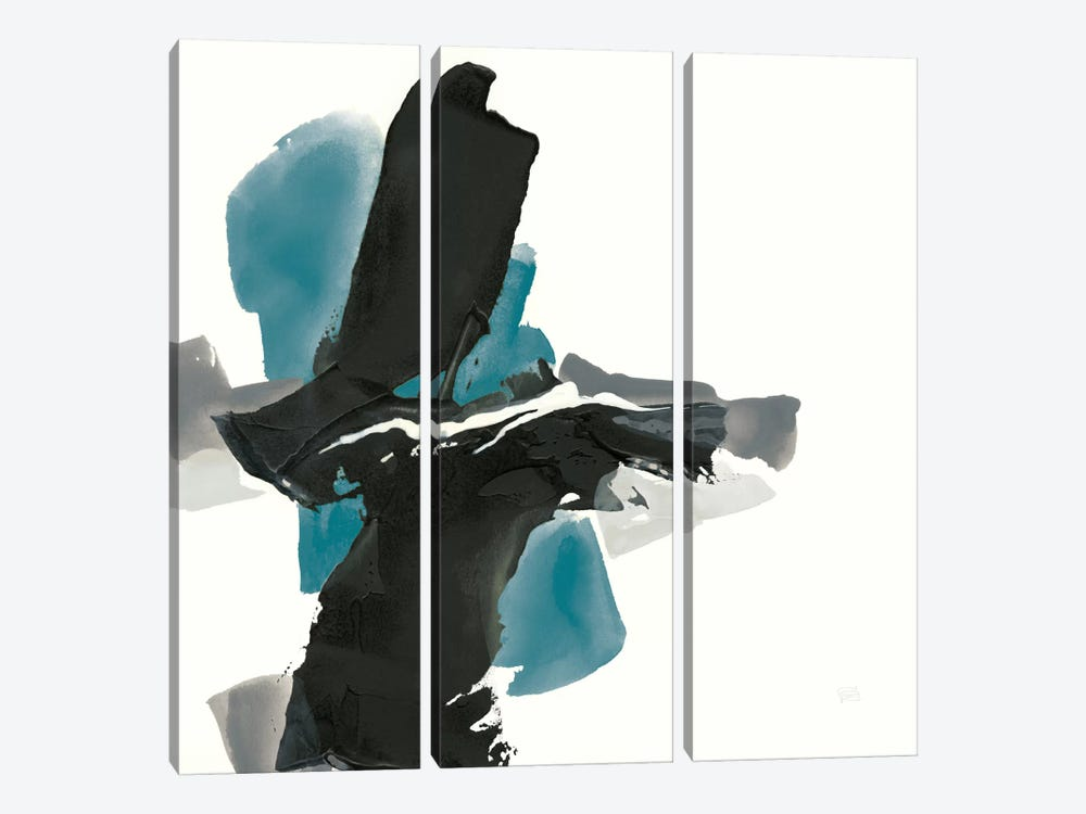 Black And Teal IV by Chris Paschke 3-piece Canvas Art Print